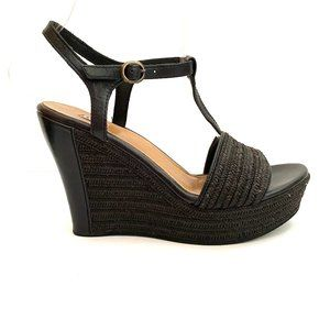 Ugg Fitchie Black Leather Jute Wedges 7